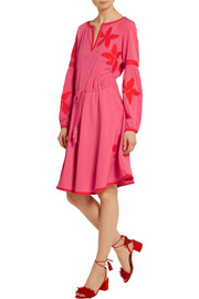 Sadie appliquéd crepe de chine dress