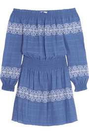 Tory Burch Loretta off-the-shoulder embroidered woven cotton mini dress