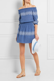 Loretta off-the-shoulder embroidered woven cotton mini dress