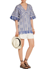 Gwen frayed linen and cotton-blend tunic