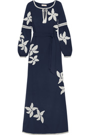 Tory Burch Jillian appliquéd crepe de chine maxi dress