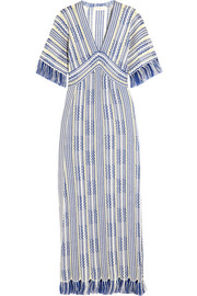 Tory Burch Debra frayed linen and cotton-blend maxi dress