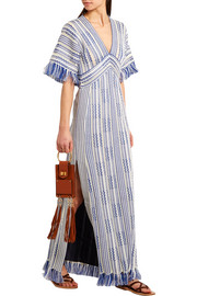 Debra frayed linen and cotton-blend maxi dress