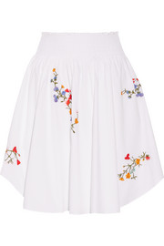 Cassie embroidered stretch-cotton poplin skirt