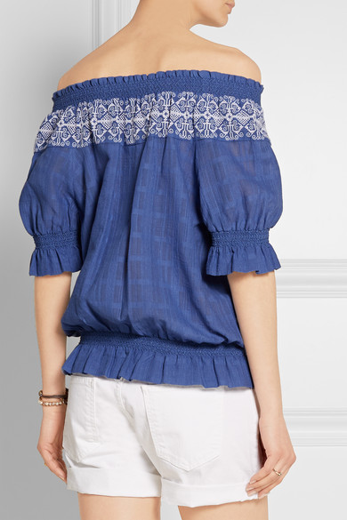 52449aebcf8 Tory Burch. Nina off-the-shoulder embroidered cotton-gauze top. £115. Play