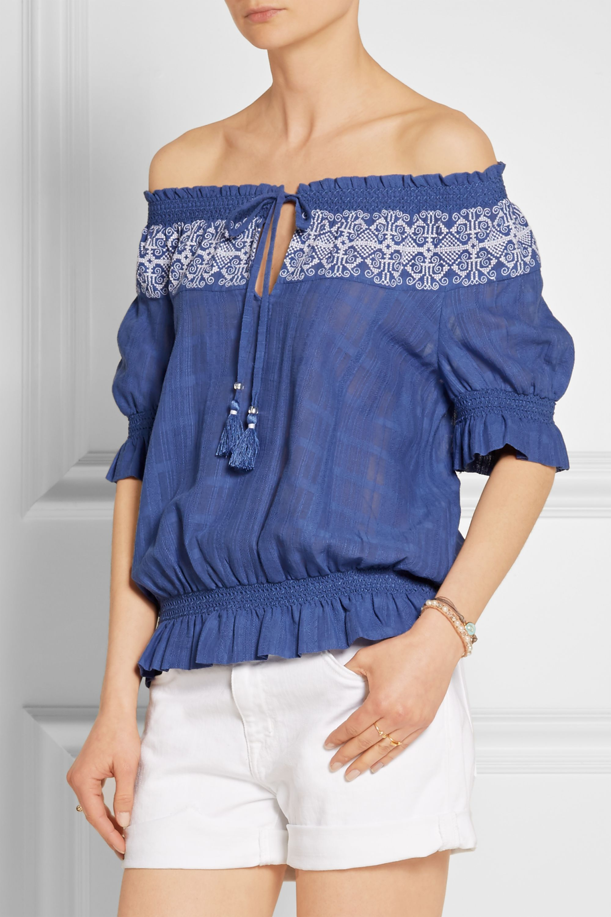 Tory Burch Nina off-the-shoulder embroidered cotton-gauze top