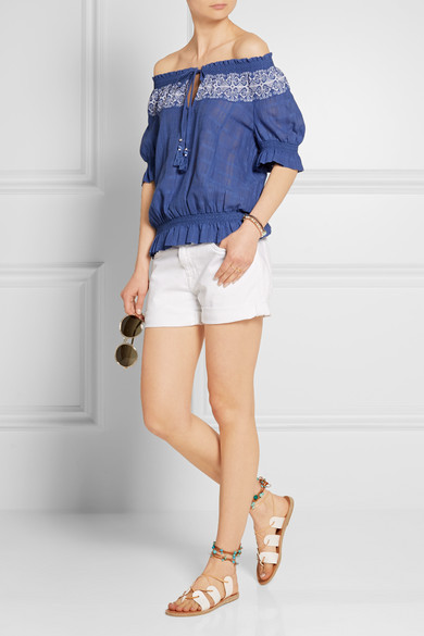 72b2650d721 Tory Burch. Nina off-the-shoulder embroidered cotton-gauze top