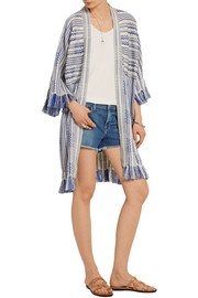 Jessica frayed linen and cotton-blend cardigan