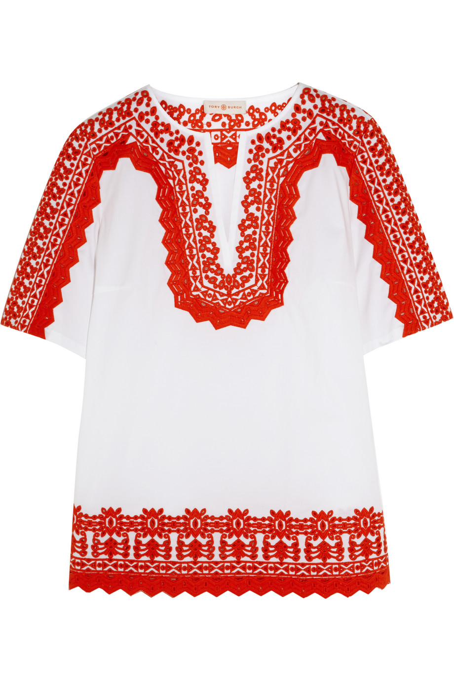 Tory Burch Isla Embroidered Stretch-Cotton Poplin Tunic, White/Red, Women's, Size: 6