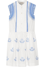 Gilda embroidered cotton-poplin dress