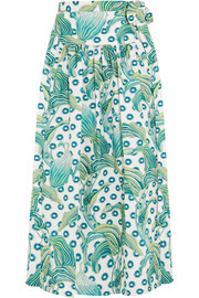 Florrie printed cotton wrap skirt