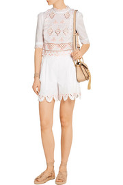 Temperley London Hika embroidered cotton-voile top
