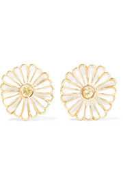 Daisy 14-karat gold, sapphire and enamel earrings