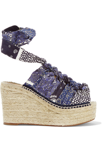 chloe female 201920 chloe printed canvas espadrille wedge sandals blue