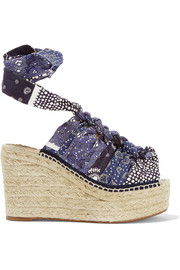 Printed canvas espadrille wedge sandals