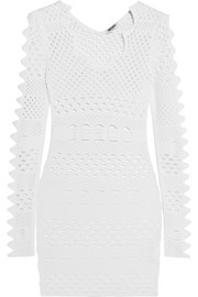 Cutout stretch-knit mini dress
