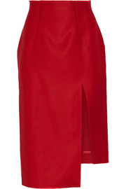 Lynton asymmetric wool and silk-blend midi skirt