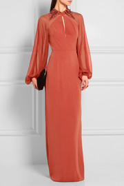 Jenny Packham Embellished silk-georgette and crepe gown