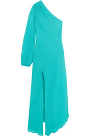 Mason by Michelle Mason Asymmetric one-shoulder silk-georgette midi dress