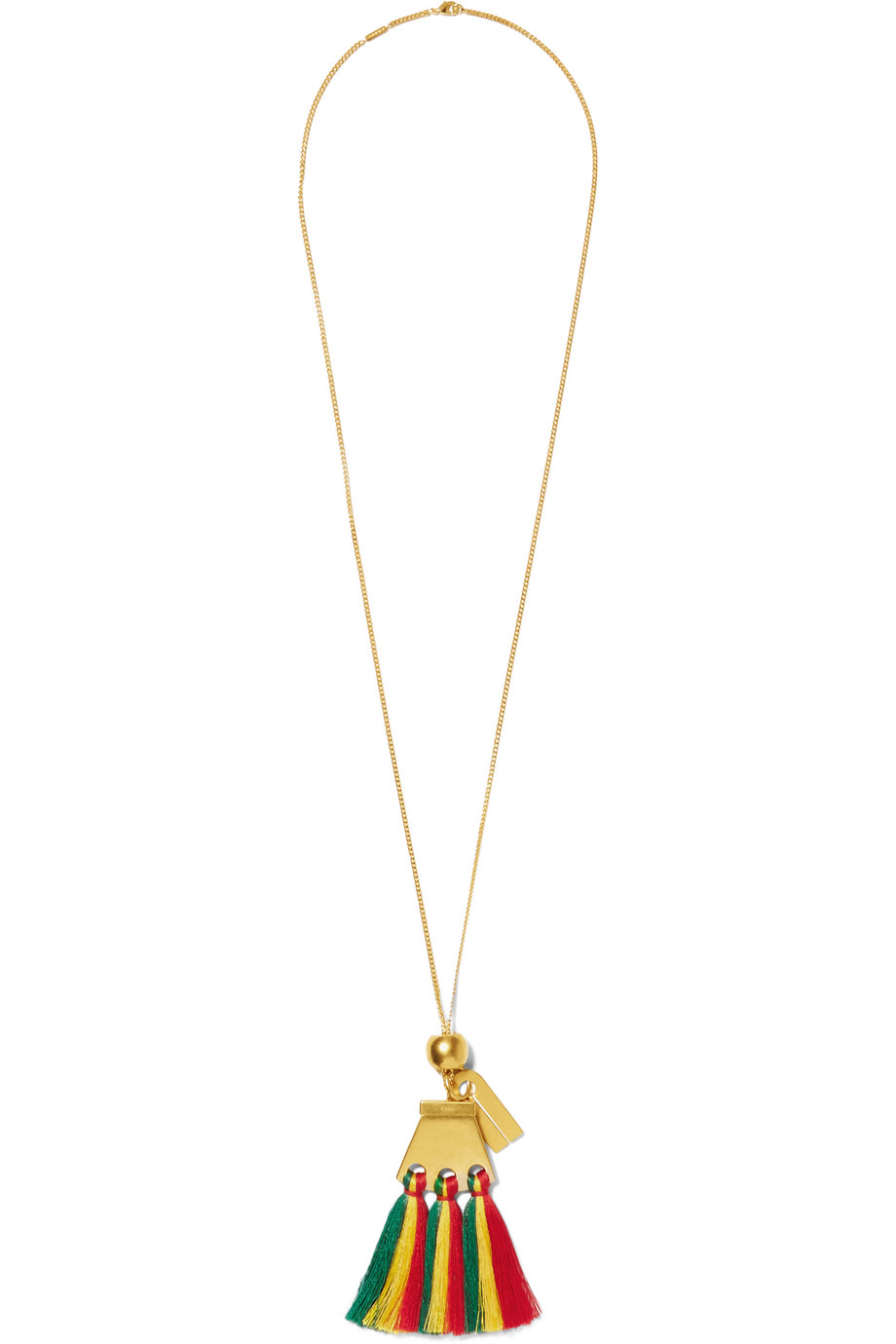 Chloé Gold-Plated Tasseled Necklace, Red/Gold, Women's