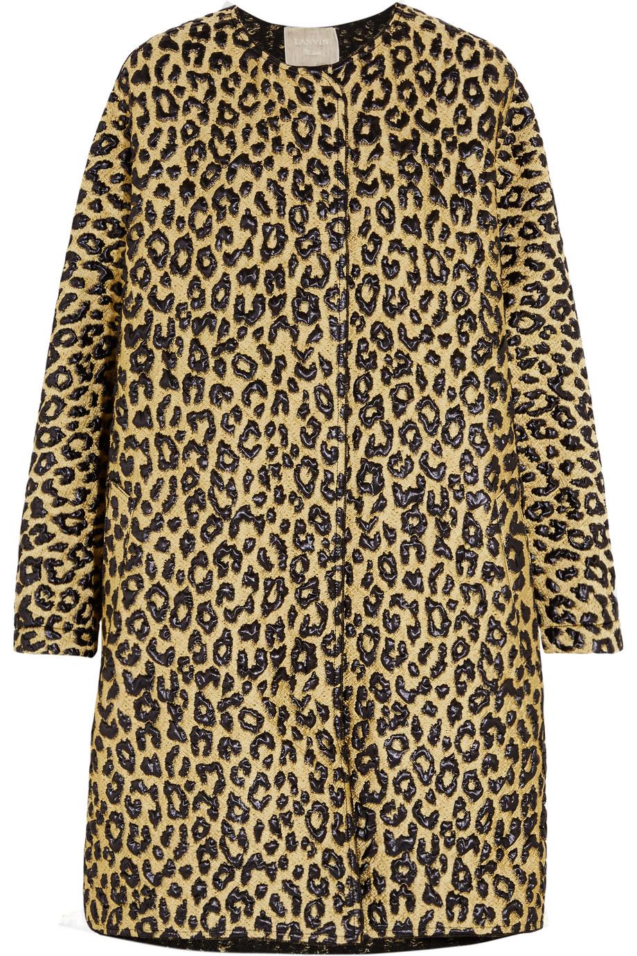 Lanvin Leopard-Matelassé Coat, Leopard Print/Brown, Women's, Size: 34