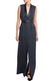 Lanvin Silk-blend satin-trimmed wool-twill gown