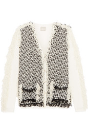 Woven tulle and cotton cardigan