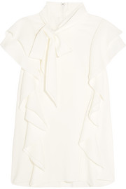 Pussy-bow ruffled stretch-crepe top