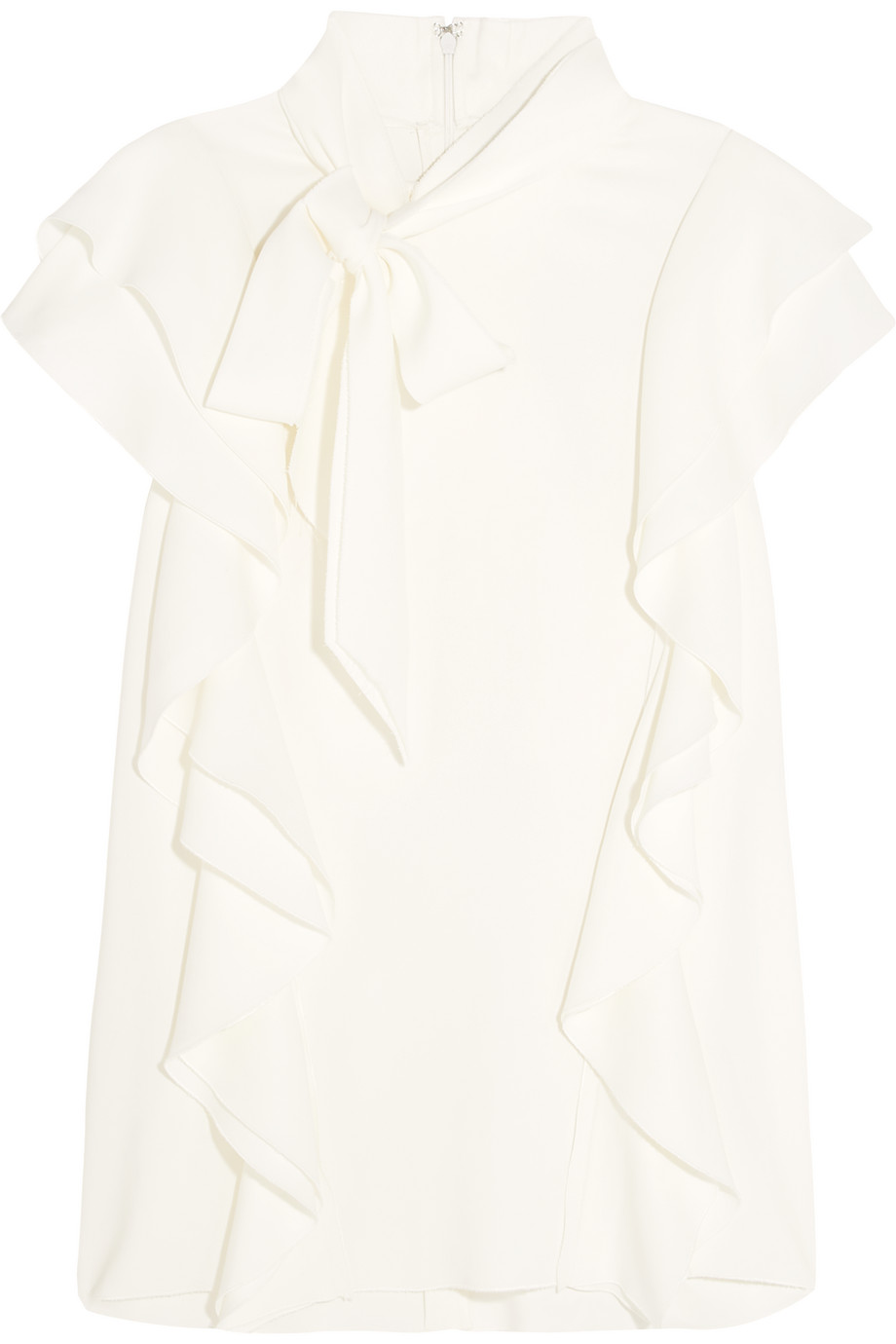 Lanvin Pussy-Bow Ruffled Stretch-Crepe Top, White, Women's, Size: 42
