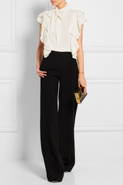 Lanvin Pussy-bow ruffled stretch-crepe top
