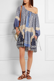 Chloé Printed lace-appliquéd cotton and silk-blend voile mini dress