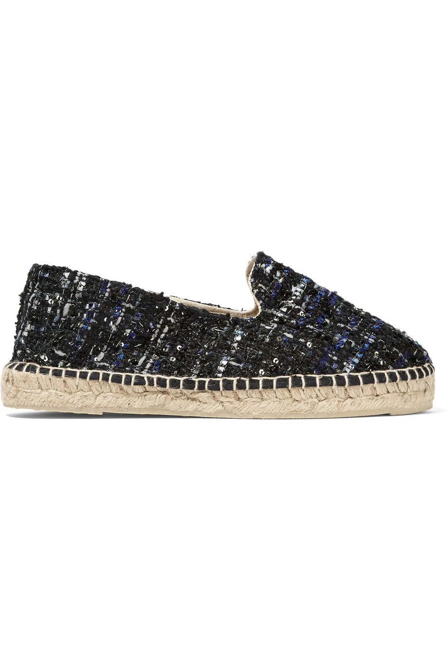 Manebi Paris Tweed Espadrilles, Navy, Women's US Size: 5.5, Size: 36