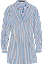Striped cotton-poplin shirt dress