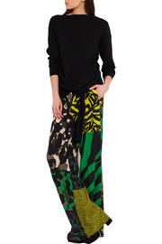 Versace Printed washed-silk wide-leg pants