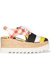 Stella McCartney Cutout printed cotton-canvas platform brogues
