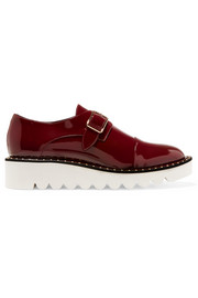 Faux patent-leather brogues