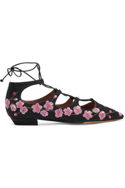 Magnolia Blossom embroidered canvas point-toe flats