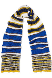Metallic striped ribbed-knit scarf