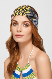 Crochet-knit and printed silk-chiffon headband