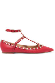 Rockstud embellished textured-leather flats