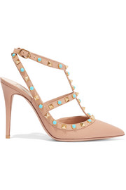 Rockstud embellished leather pumps