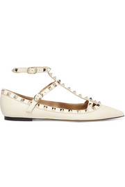 Rockstud textured-leather flats