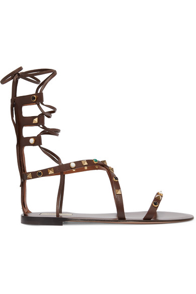 valentino female 123862 valentino rockstud embellished leather sandals chocolate