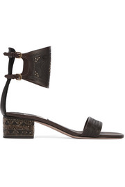 Studded embossed leather sandals