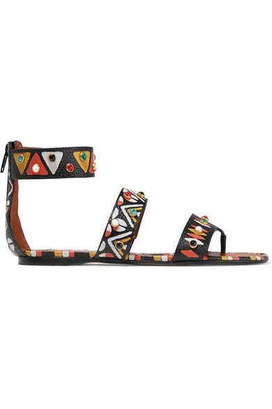 Valentino - Embellished Leather Sandals - Brown