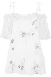 Off-the-shoulder printed fil coupé mini dress