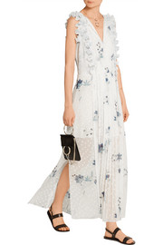 Ruffle-trimmed printed fil coupé maxi dress