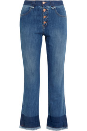Cropped mid-rise flared jeans
