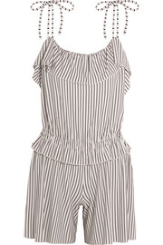 Ruffled striped jersey playsuit