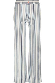 Striped cotton-blend flared pants